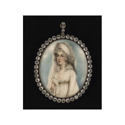 Nathaniel Plimer (British, 1757-1822) A Lady, half-length, wearing décolleté white dress with