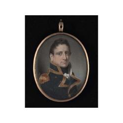 George Patten A.R.A. (British, 1801-1865) A Naval Officer, wearing blue coat with gold edging, gold