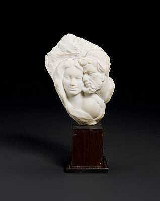 Aldo Bartelletti, Italian (d.1922) A carved white marble group of a satyr and young female