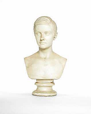 William Theed, British (1804-1891) A marble bust of a gentlemansigned and dated to the back W. THEED FECIT ROMAE 1845,