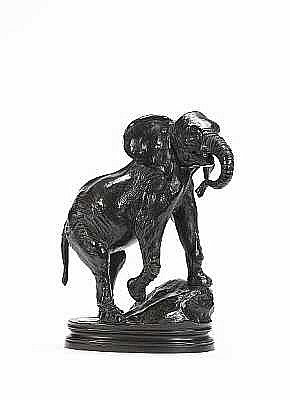 Alfred Barye, French (1839-1882) A bronze model entitled 'Elephant d'Asie patte antérieure droite levée'