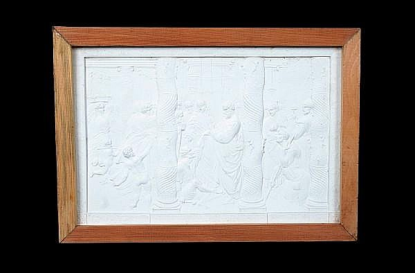 John Henning (1771-1851): A set of six plaster plaques cast in relief with cartoons after Raphael