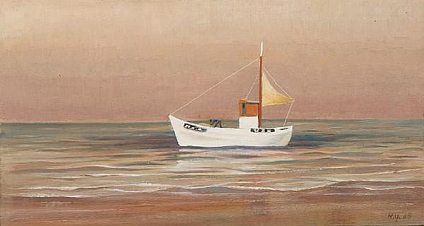 Nan Youngman, OBE (1906-1996) Boat with yellow sail