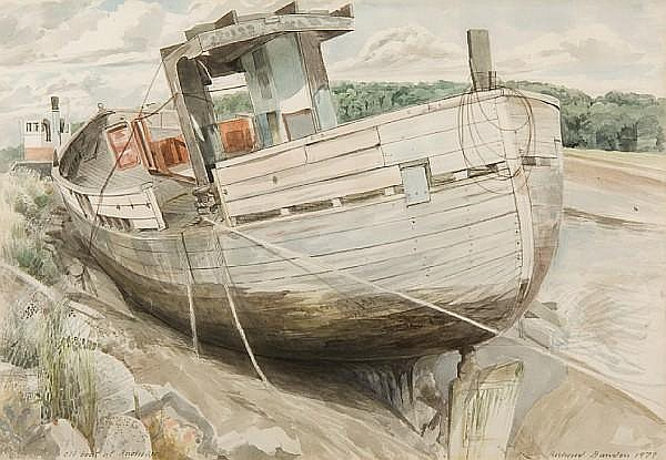 Richard Bawden (British, 1936) Old boat at Rowhedge