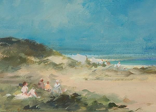 Peter Burman, (Contemporary) Beach party, Studland, Dorset