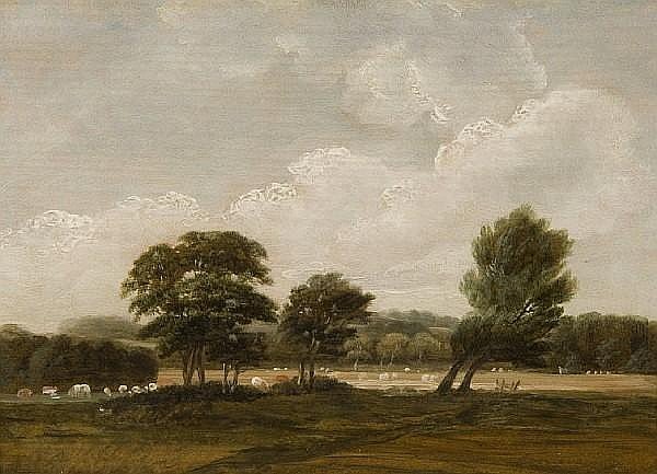 Attributed to Robert Ladbrooke (British, 1769-1842) River landscape with cattle