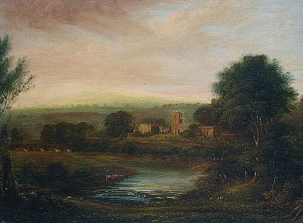 George (the Younger) Cuitt (British, 1779-1854) Evening at Wensley, Yorkshire