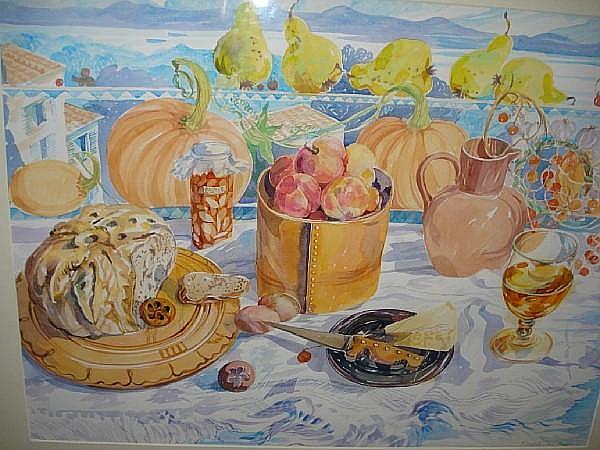Elizabeth Jane Lloyd (English, 1928-1995) Still life; table set with bread and fruit. 56cm x 74cm