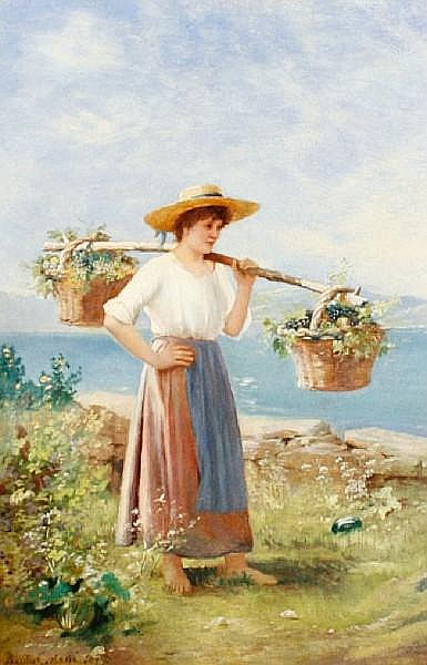 Basilio Coletti (Italian, born after 1863-) Girl with grape baskets