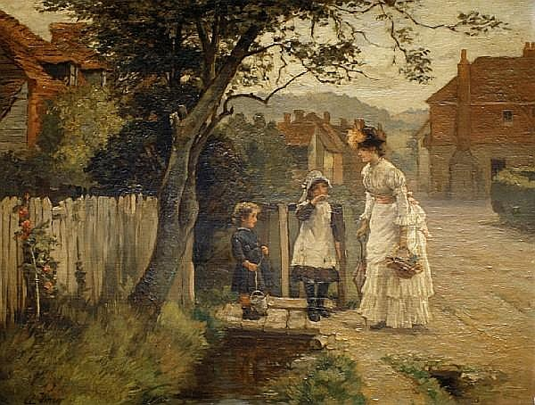 Arthur Verey, late 19th/early 20th Century Woman and children on a village street