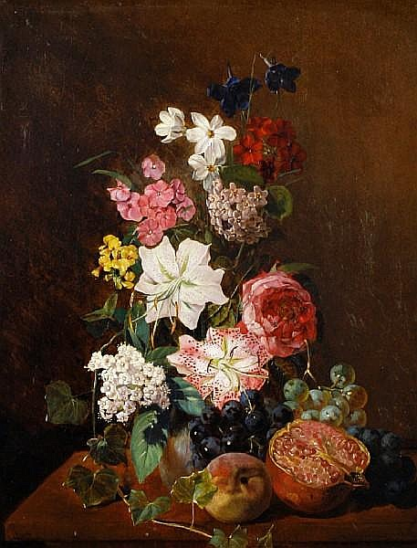 Rudolf Schuster (German, 1848-1902) Still life of flowers and fruit
