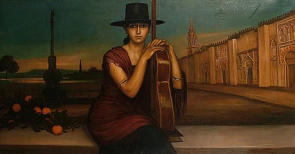 Rafael Romero de Torres Pellicer (Spanish, 1899-1984) The Spanish guitar player