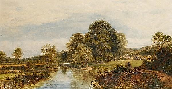 Charles Marshall (British, 1806-1890) A quiet day, Ditchford Mill stream, Worcestershire