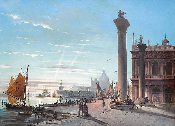 Attributed to Giovanni Grubacs (Italian, 1829-1919) The Piazzetta San Marco with the Basilica di Santa Maria della Salute in the distance