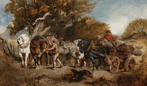 Harden Sidney Melville (British, fl.1855-1904) The timber wagon