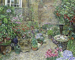 AR MELISSA SCOTT-MILLER (BRITISH, B.1959) Back garden in full bloom signed