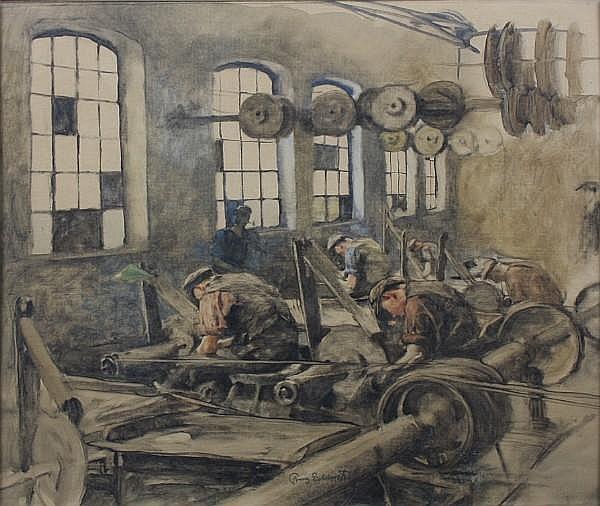 Franz Eichhorst (German, 1885-1948) Lathe working scenes 47 x 51.5cm A pair. (2)