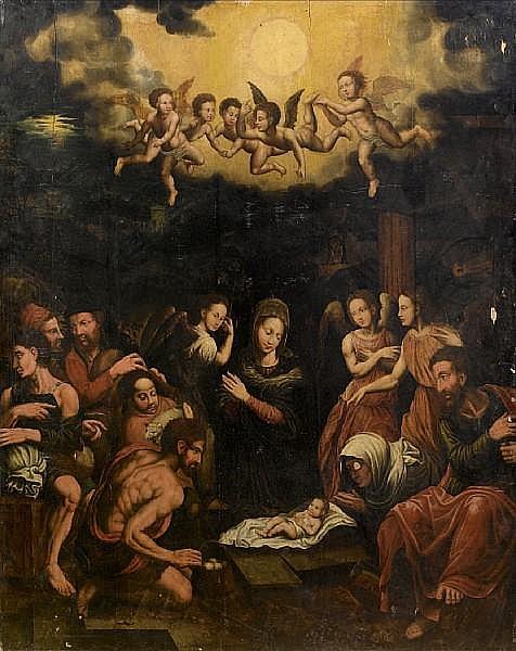 Workshop of Lambert Lombard (Liège 1506-1566) The Adoration of the Shepherds unframed
