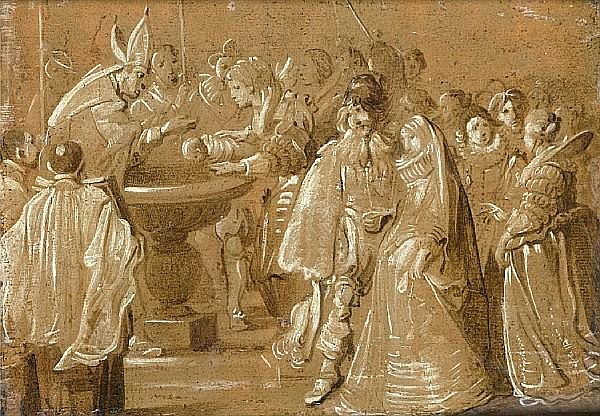 Attributed to Anthonis Sallaert (Brussels 1590-circa 1658) The baptism of a child
