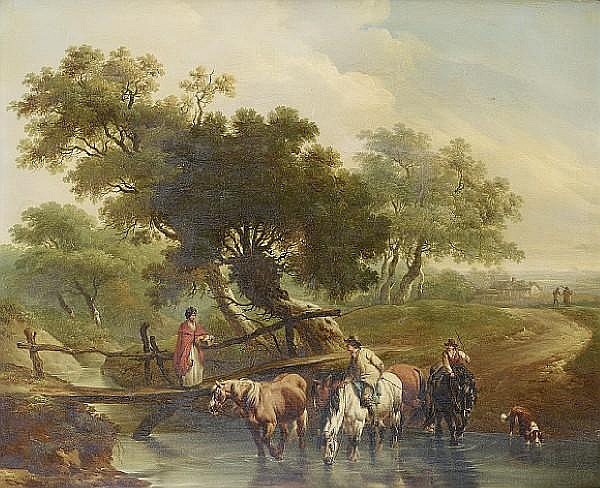 Charles Towne (Wigan 1763-1842 Liverpool) A traveller with cattle and sheep on a country path before ruins; and Horsemen watering their horses at a stream, (2)