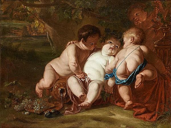 Follower of Jan Thomas van Yperen (Ypres 1617-1678 Vienna) The Infant Bacchus with putti