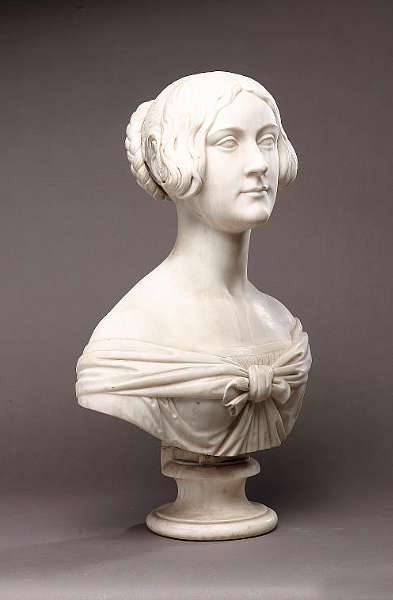 William Theed The Younger (English 1804-1891): A carved white marble bust of a young lady