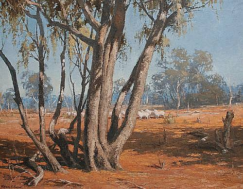 William T Cooper (Australian, born 1934) Australian outback with sheep