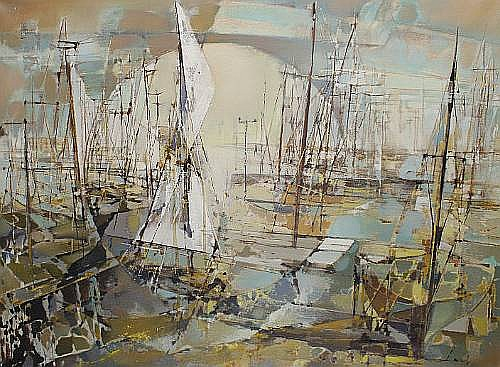 Jean Theobald Jacus (French, born 1924) Abstract boats