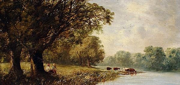 George A. Boyle (British, 1826-1899) Country landscapes, a pair each 20.5 x 40.5cm (8 1/16 x 16in). (2)