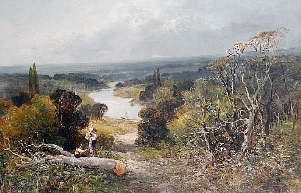 John Talbot Adams (British, active 1861-1905) 'Richmond Hill from the Star and Garter'