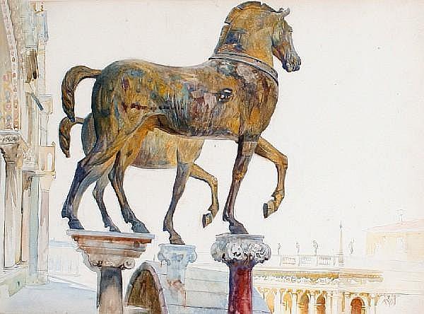 Attributed to Reginald Barratt (British, 1861-1917) Horses of St Mark's, Venice
