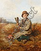 John Wells Smith (British, active 1870-1875) Boy in a field with a bird scarer, John Wells Smith, Click for value
