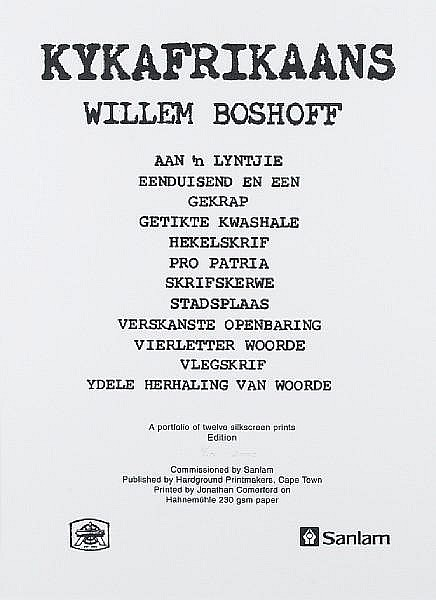 Willem Boshoff (South African, born 1951) Kykafrikaans, a set of 12 prints and one frontispiece: