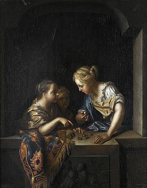 Pieter van der Werff (Kralingen 1665-1722 Rotterdam) Three girls at a stone window