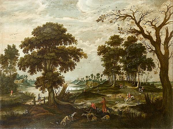 Jan Wildens (Antwerp 1586-1653) An elegant company departing for the hunt before an open landscape; and A river landscape (2)