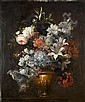 Attributed to Antoine Monnoyer (Paris 1670-1747 Saint-Germain-en-Laye) Roses, honeysuckle, lilies and other flowers in a classical urn, Antoine Monnoyer, Click for value