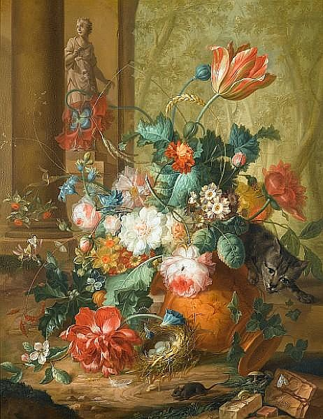 Johannes Christianus Roedig (The Hague 1751-1802) Tulips, roses and other flowers in a classical urn overturned by a cat chasing a mouse with a statue of Flora beyond; and Peaches, grapes, pumpkins, a lemon, a pomegranate and other fruit and flowers