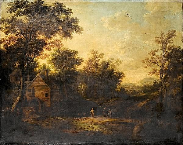 Attributed to George Lambert (Kent 1700-1765 London) A wooded landscape unframed