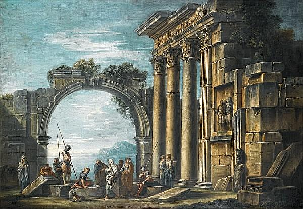 Giovanni Ghisolfi (Milan circa 1623-1683) Classical ruins before an Italianate lake landscape, with Christ handing Saint Peter the keys to the kingdom of heaven; and An architectural capriccio 69 x 101cm (27 3/16 x 39 3/4in) and 70.5 x 102cm 27 3/4 x