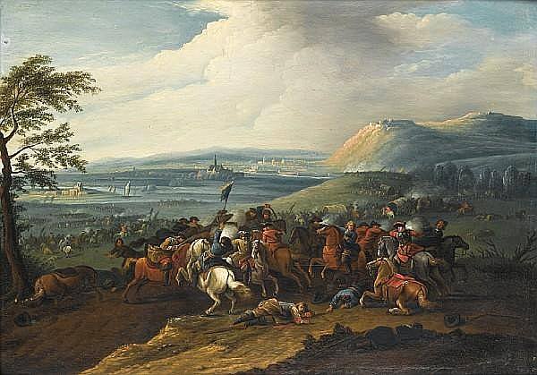 Jan Frans van Bredael the Elder (Antwerp 1686-1750) A cavalry skirmish before an extensive river landscape with further battles in the distance; and A cavalry skirmish (2)
