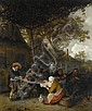 Cornelis Dusart (Haarlem 1660-1704) Peasants seated at a table eating and drinking, Cornelis Dusart, Click for value