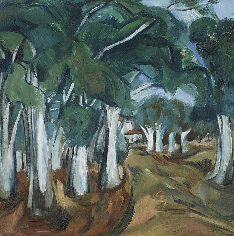 Wolf Kibel (Polish, 1903-1938) Landscape with trees