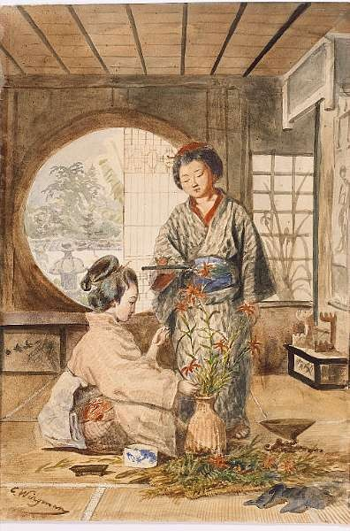 CHARLES WIRGMAN [1832-1891], two Yamato Nadeshko in an interior;
