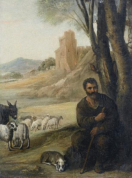 Circle of Francisco Antolínez y Sarabia (Seville 1644-1700 Madrid) Jacob with the flock of Laban