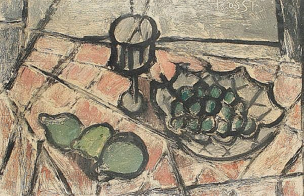 Carlo Rossi (born 1921) Still life with grapes and pears