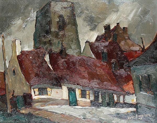 Henri Logelain (Belgian, 1889-1968) Cottages
