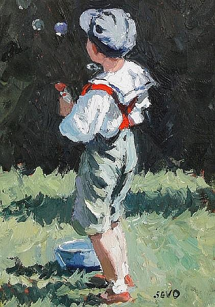 Sherree Valentine-Daines (British, born 1956) Boy with bubbles