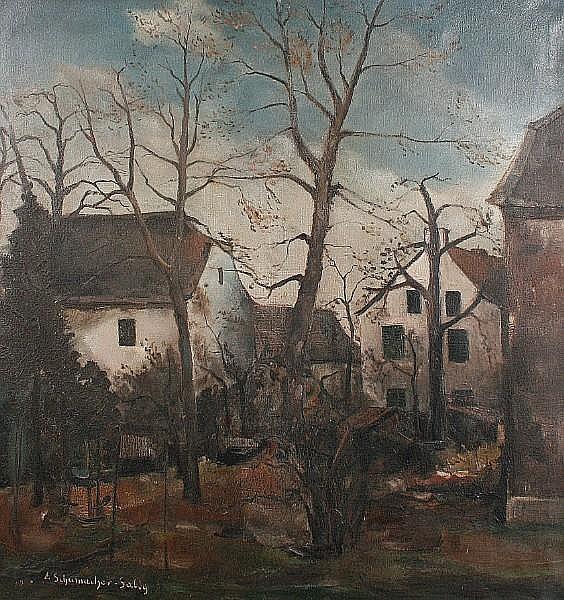 Ernst Schumacher-Salig (German, 1900-1963) German village scene