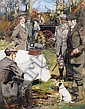 Septimus E. Scott (British, 1879-1962) 'After the Hunt' an illustration for HMV Music, together with a calendar in which the image was illustrated, Septimus Edwin Scott, Click for value