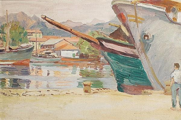 Duncan Grant (British, 1885-1978) Figure by a harbour